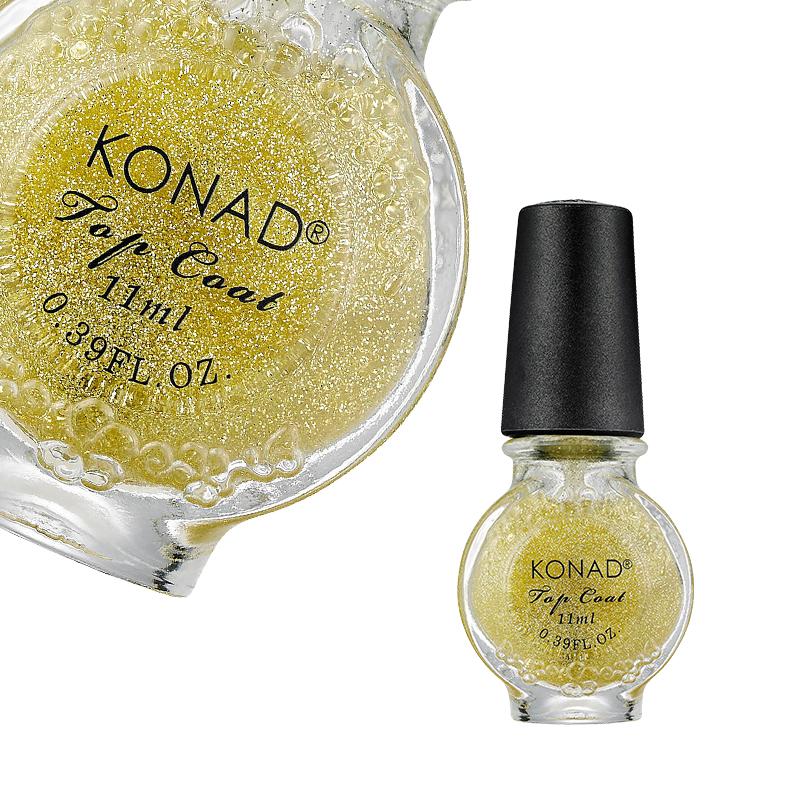 Fedő és díszítő lakkok - Speciális fedőlakk KONAD®  Glitter Gold KONAD® - 11ml