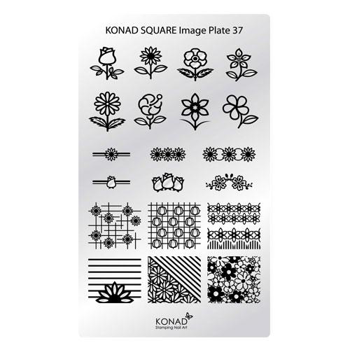 KONAD® | sablon SQUARE - Körömnyomda lemez | KONAD® Square 37