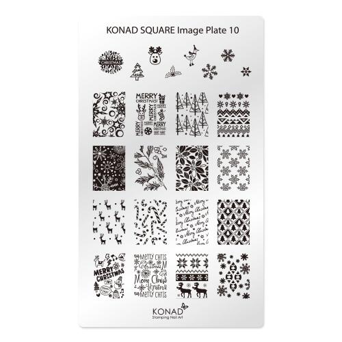 KONAD® | sablon SQUARE - Körömnyomda lemez KONAD Square 10