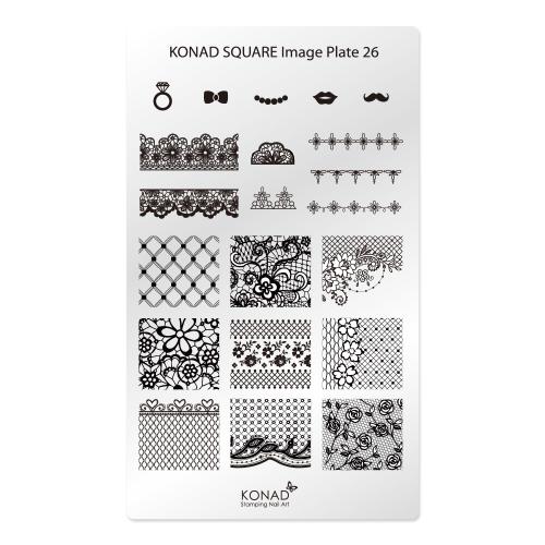 KONAD® | sablon SQUARE - Körömnyomda lemez  KONAD Square 26