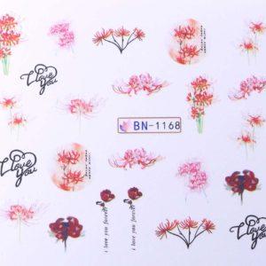 Díszítés - Vizes körömmatrica BN-1168 Virág