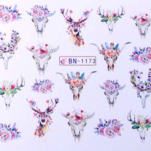 Díszítés - Vizes körömmatrica BN-1173 Virág